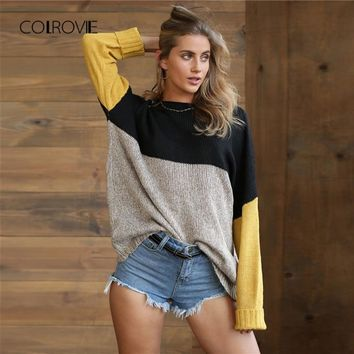 COLROVIE Multicolor Color Block Marled Casual Knitted Jumper 2018 Autumn Loose Soft Women Jumper Pullovers Warm Winter Sweater