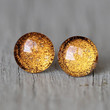 Fake Plugs : Yellow Gold Glitter Stud Earrings, Neon, Sparkle, Painted, Handmade, Unique, Galaxy Studs, 9mm