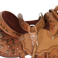 Sparkler Western Saddle with colored Filligree on floral carving