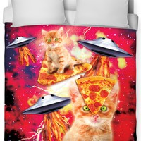 Bacon Pizza Space Cat Duvet Cover