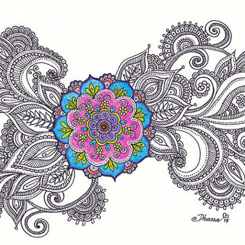 Healing Mandala Art Large PRINT, Meditation Wall Decor, Floral Mandala painting, Zen Artwork  Yoga studio Wall Decor, Ethnic Drawing