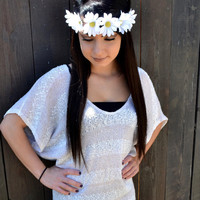 Daisy Headband - Leather Flower Headband - White Daisies - Festival Headband - Hair Accessories