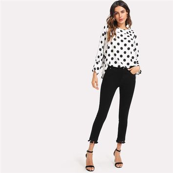 Women Vintage Tops Latest Cute Black Polka Dots Long Batwing Sleeve Round  White