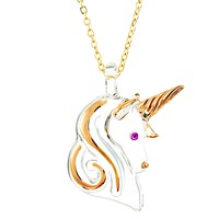 Glass Baron Gold Trim Unicorn with Swarovski Crystal and 22k Gold Trim Necklace