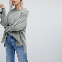 Pull&Bear Ribbed Knit Jumper With Tie Sleeve at asos.com