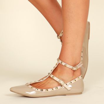 Studded Flats Natural Patent