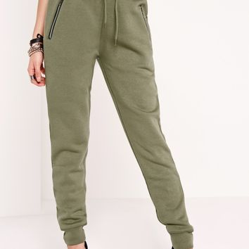 Missguided - Zip Detail Joggers Khaki