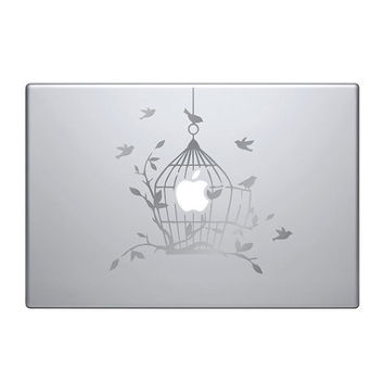 "Birdcage matte silver Vinyl Decal / Sticker to fit Macbook Pro 13"" 15"" 17"" - Custom sizes available - love - precision die cut bird cage"