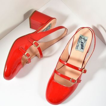 Miss L Fire 1960s Style Red Patent Leather Mary Jane Open Dolly Heels