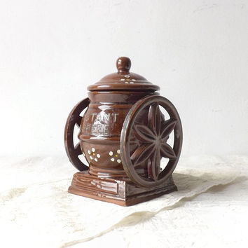ON SALE - Davar Pottery Coffee Mill Grinder, Vintage Kitchen Decor, Instant Coffee Storage Container