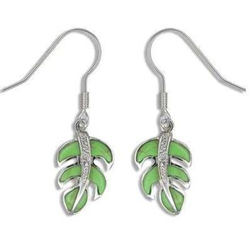 Sterling Silver Hawaiian Green Turquoise Monstera Fish Wire Earrings with CZ