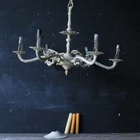 Vintage Rustic Chandelier or Candelabra White Electric Or Candle From Nowvintage on Etsy