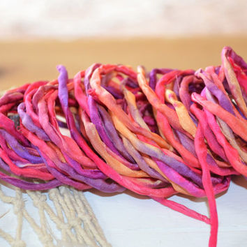 Silk Cord hand dyed rainbow pink red orange silk string for necklace bracelets 4mm