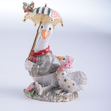 Goose with Umbrella Faberge Style Trinket Box Decorated with Swarovski Crystals Handmade by Keren Kopal