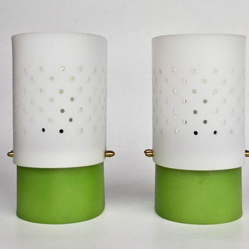 Mid Century Modern Wall Lamp Pair / Sconces / Green & White/ 70's Europe/ Brass