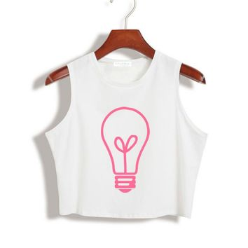 Summer Women Crop Top light bulb pink Print 90s Sexy Slim Shirt For Tank Top Tee Hipster Vest Black White Drop Ship ZT-16