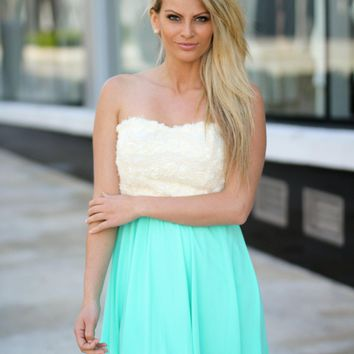 Mint Short Dress with Lace Floral Top