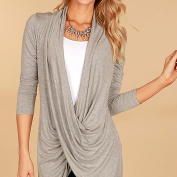 Twist Front Tunic Heather Grey