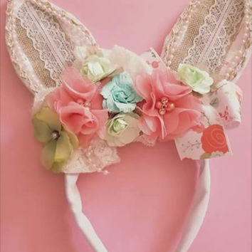 BUNNY EARS, custom u choose headband, rabbit, Easter, Spring, couture, over the top, boutique, baby, toddler, woodland, rose, flower,