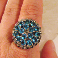 SALE Vintage Silver Ring Blue Rhinestones by colorsoulartistry
