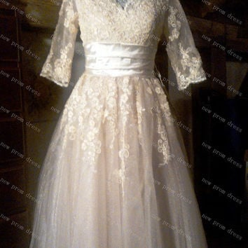 V-neck tea-length ivory tulle with appliques short sleeves wedding dress