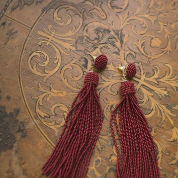 Janine Beaded Tassel Earrings