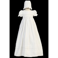 Traditional Smocked Christening Gown with Pintucking & Braided Lace Trim (Baby Girls Newborn - 18 months)