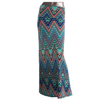 """Colorful Waves"" Multi Colored Zig Zag Wave Maxi Skirt"
