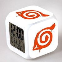 Tech Discovery Anime Naruto Glowing LED 7 Colors Change Digital Alarm Clock Thermometer (E)