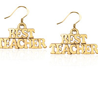 Best Teacher Charm Earrings