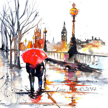 LondonTravel Watercolor Illustration -  Print from Original Watercolor Painting Cityscape Romance - Lana's Art - Wanderlust Illustration