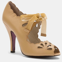 Nude Open Toe Scalloped Barbie Heels