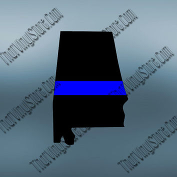 Alabama Back the Blue Flag Thin Blue Line Vinyl Decal | Yeti Cop Decal | Distressed Disney American Flag | Blue Lives Matter | 403