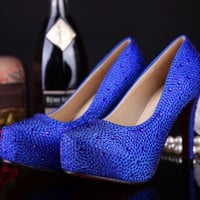 Milanblocks Rhinestone Platform Pink Blue Pumps Wedding Shoes