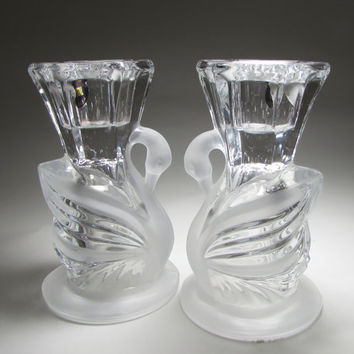 Crystal Frosted Pair Of Swan Shaped Taper Candle Holders Cygnus