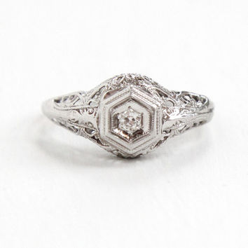 Antique 18k White Gold Art Deco Solitaire Diamond Ring - Size 4 Vintage Filigree Fine Engagement Bridal Jewelry