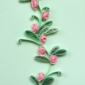 Flowers Quilling Card With Quilled Roses in Pink and Minty, Roses Handmade Quilled Paper Card