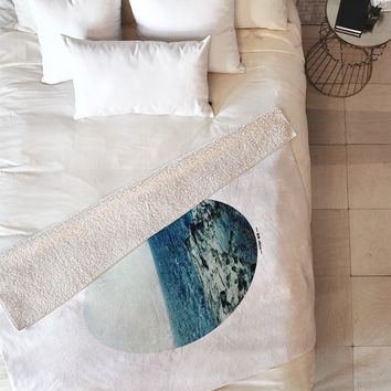 Leah Flores Ocean Blue Fleece Throw Blanket