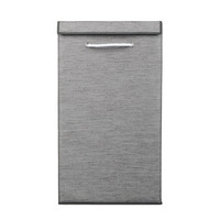"Elle Coated Fabric Laundry Hamper with Fold Down Lid, 25"" Tall, Gray or White"