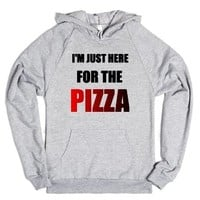 i'm just here for the pizza-Unisex Heather Grey Hoodie