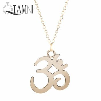 QIAMNI Om Symbol Yoga Meditation Buddhism Zen Pendant Necklace for Women Girls Chain Accessories Christmas Minimalist Jewelry