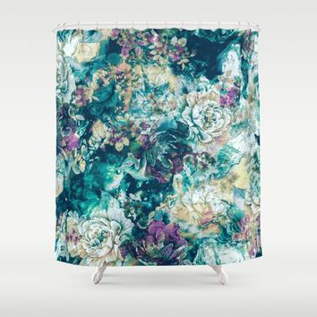 Frozen Flowers Shower Curtain by Valentinasevza