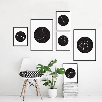 Constellations Sign Canvas Art Print and Poster , Constellations of the 12 Zodiac Signs Canvas Painting Wall Decor