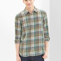 Gap Men Lightweight Twill Clay Plaid Shirt