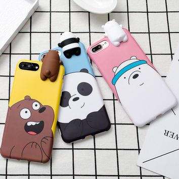 Cute 3D toys bears brothers phone Cases For iphone 6 6s 6plus 7 7Plus Cute Cartoon soft silicon case for iphone X 8 8plus