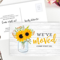 We've moved cards | Moving announcements PRINTED | 4X6 we have moved postcards with sunflowers | Change of address cards |