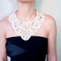 cotton lace beaded bib necklace // cream collar accessory //wood beaded collar // vintage bohemian accessory