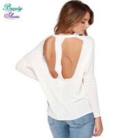 High Street Loose All-Match t shirt Women Casual Women Tops Brand Tees Sexy Backless Long Sleeve Tshirts Autumn Crop Tops