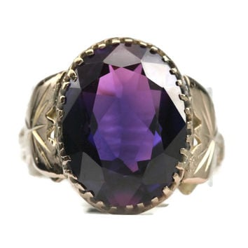 Antique 8.10 Carat Purple Sapphire 14K Ring Size 10.5