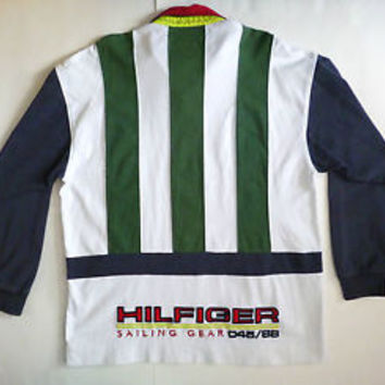 VTG 90s Tommy Hilfiger SAILING Gear Rugby Shirt Size XL Hip Hop Polo Colorblock